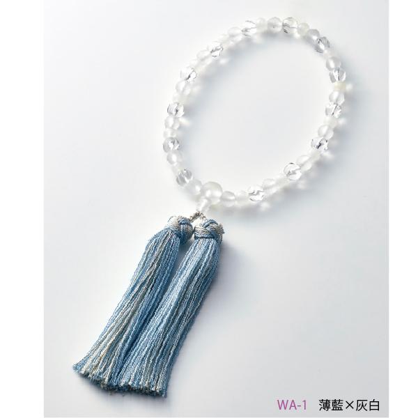 【送料無料】数珠 ウエーブクリア ホワイトオニキス・霧水晶 銀花かがり房