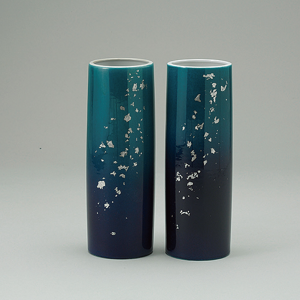 花瓶 九谷寸胴深海 8.0寸(1本)