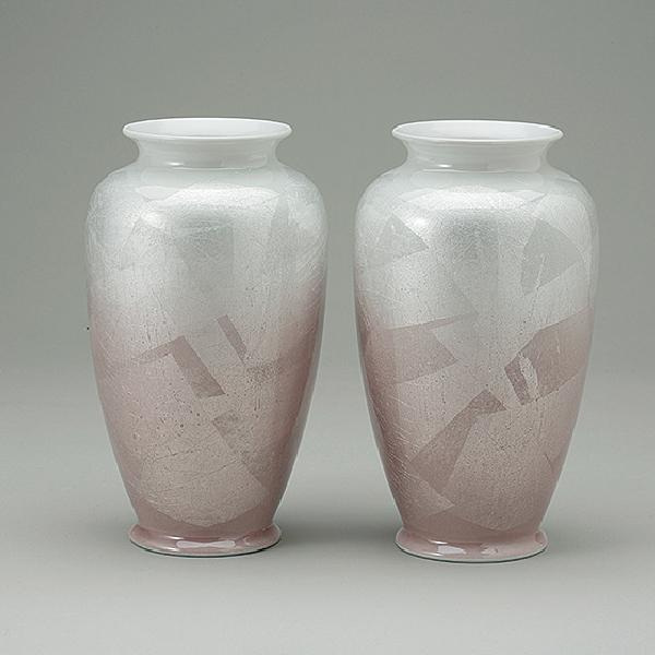 花瓶 九谷銀彩カメ型 ピンク 8.0寸(1本)