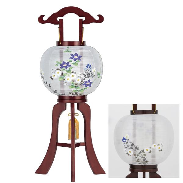 【送料無料】盆提灯 絹張紫水10号 鉄線蓮に菊 42151M
