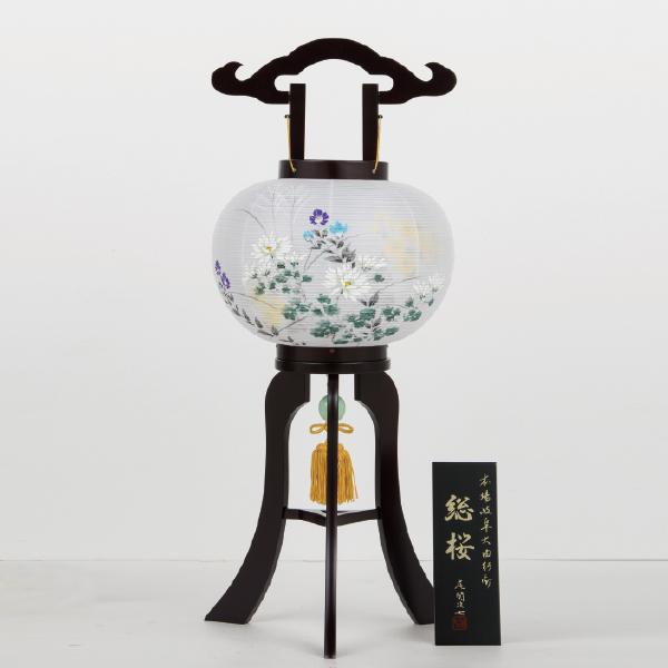 【送料無料】盆提灯 二重総桜10号 大輪菊に桔梗 53402B