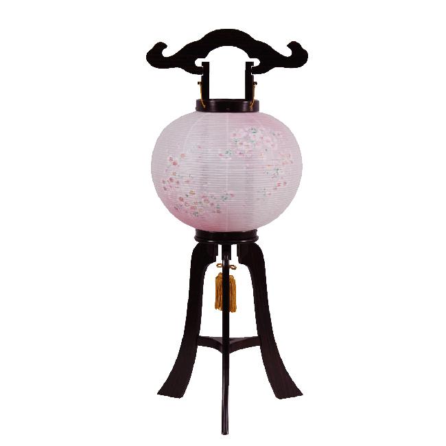 【送料無料】盆提灯 和紙回転 桜一重9寸黒檀調A-7 M