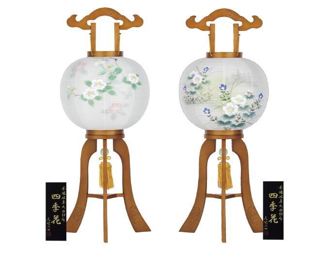 【送料無料】盆提灯 二重四季花11号 一対入 椿・桜 芙蓉・小菊 561N