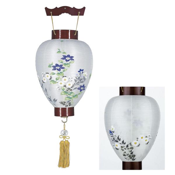 【送料無料】盆提灯 絹張紫水 鉄線蓮に菊 1267