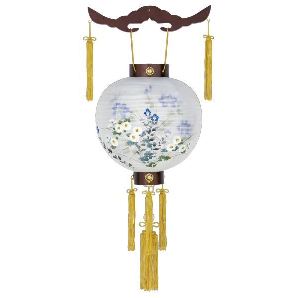 【送料無料】盆提灯 二重天二御殿丸紫水 小菊に鉄線蓮 18161