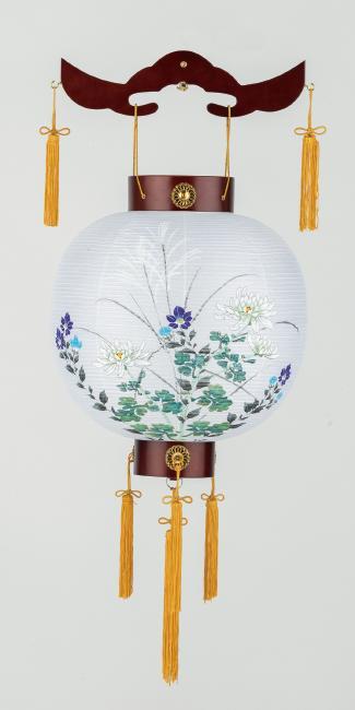 【送料無料】盆提灯 天一御殿丸紫水 大輪菊に桔梗 転用型 16111
