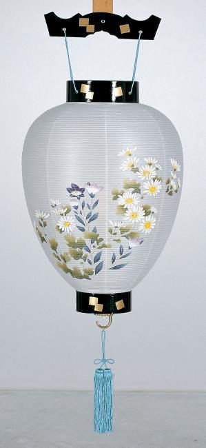 【送料無料】盆提灯 新大極蒔絵 菊に桔梗 1112