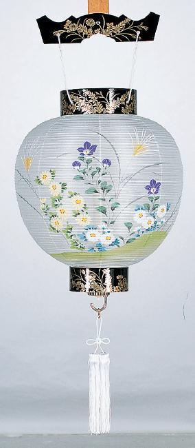 【送料無料】盆提灯 絹張別上丸蒔絵 菊に桔梗 2205