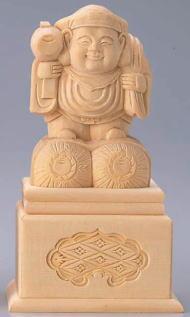 仏具 仏像 総白木大黒天 高台付 2.0号【sybp】【w4】