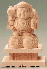 仏具 仏像 総白木 大黒天 台付 1.8号【sybp】【w4】