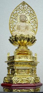 仏具 仏像 ご本尊 座釈迦手彫り唐草光背 2.0号