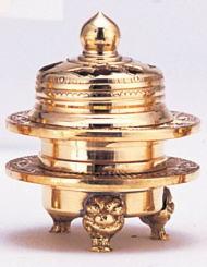 香炉 机上香炉 焼香 浄土真宗 真鍮 [火舎香炉・彫入・金メッキ 1.8号] 香をたく 仏具 仏壇用