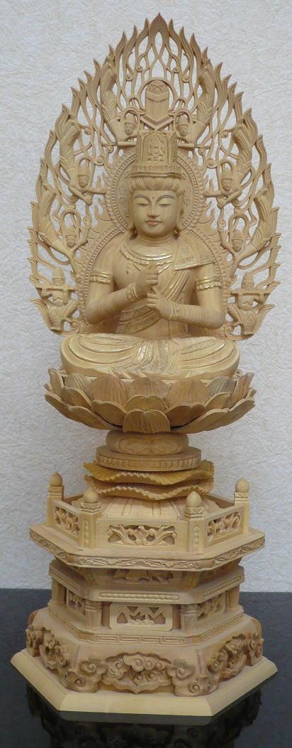 仏像 真言宗 大日如来柘植 六角台座 飛天光背 金泥書 3.0号