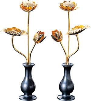 【仏具】【モダン常花】ミニ常花・真鍮本金メッキ 3.0寸