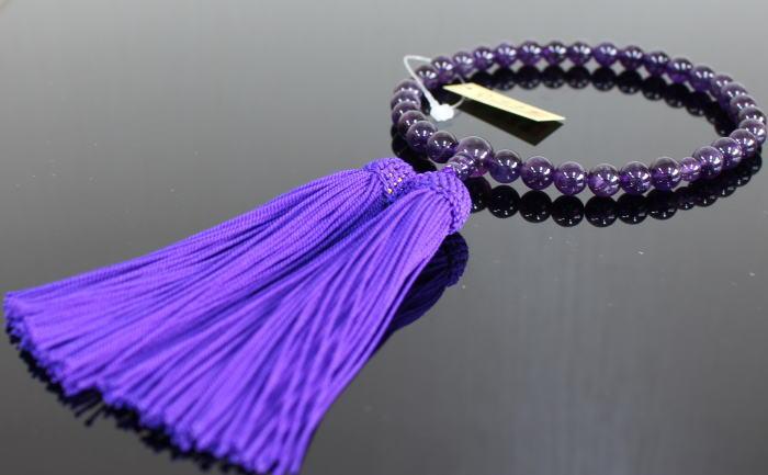 念珠 数珠 京念珠 紫水晶(全宗派用)女性用 8寸(桐箱入)