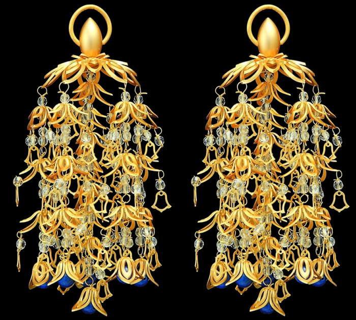 仏具 真鍮 透し華瓔珞 ラピス仕立消金メッキ・特大(6号)1対