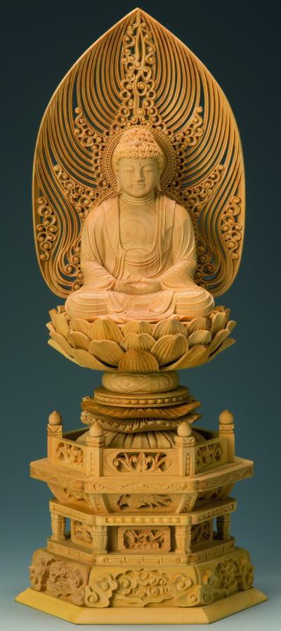 仏具 仏像 ご本尊 座釈迦 3.0号本柘植 六角台座 水煙光背 金泥書
