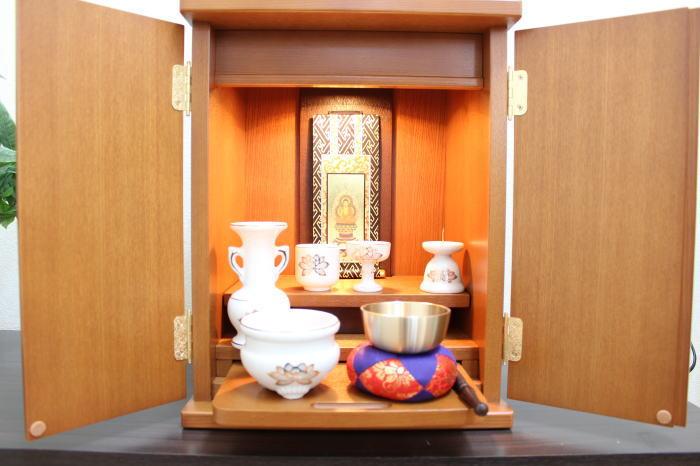 仏壇 ミニ仏壇 家具調仏壇 モダン仏壇 上置き仏壇コンパクト アビー12号 仏具付