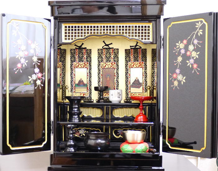 仏壇 ミニ仏壇 金仏壇 上置き仏壇 コンパクトしだれ桜16号 仏具付