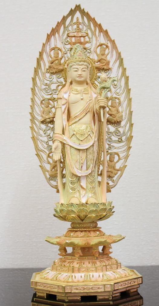 仏壇 仏像 仏像聖観音様 総柘植八角台 5.0号