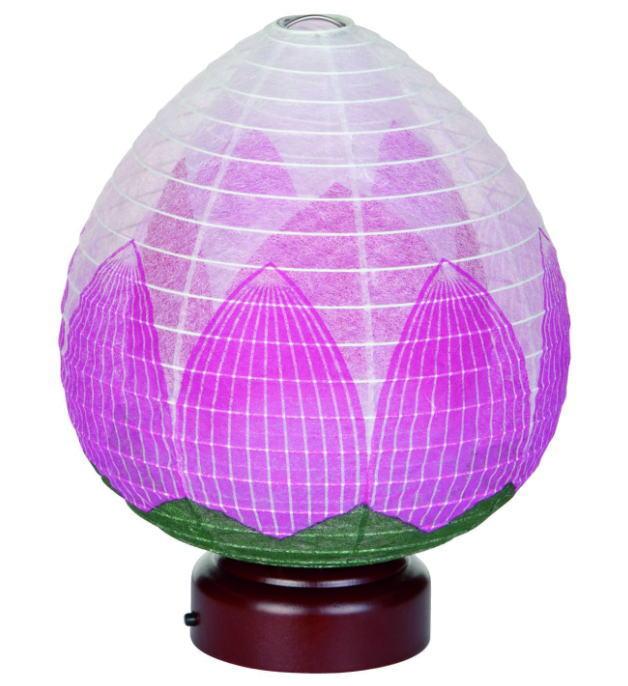 盆提灯 モダン提灯 天然木 紙張 結花・蓮花 LED電池 二重張