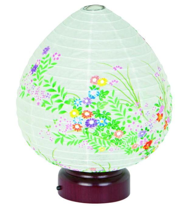 盆提灯 モダン提灯 天然木 紙張 結花・小花ちらし LED電池