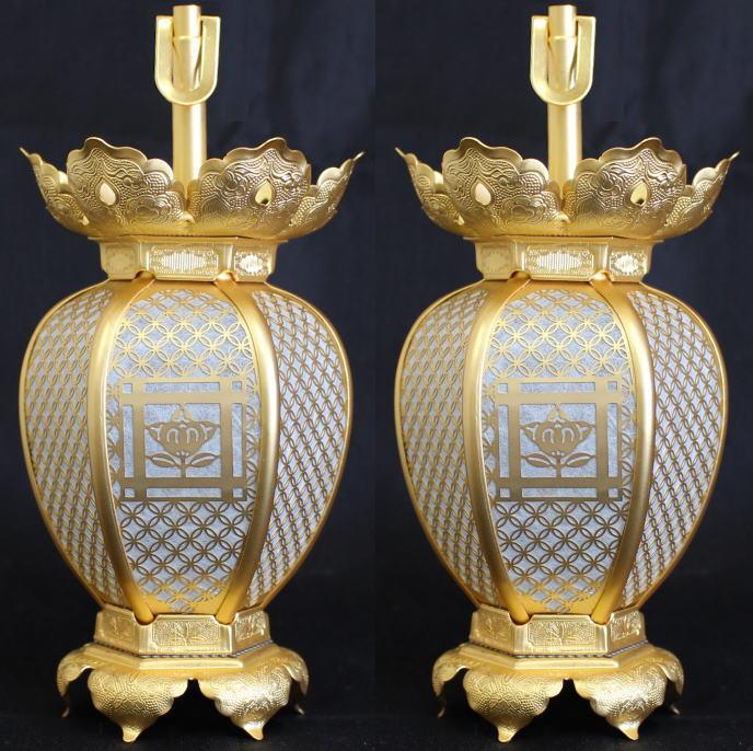 吊灯籠(吊り灯篭) 日蓮宗紋入 真鍮 七宝型灯篭 消金メッキ 小