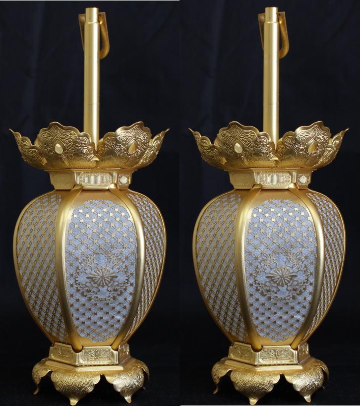 吊灯籠(吊り灯篭) 臨済宗紋入 真鍮 七宝型 灯篭 消金メッキ 小