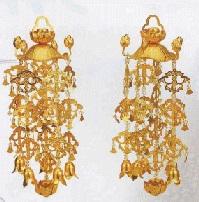 消金メッキ ●日本正規品● 真鍮 蓮笠瓔珞 引出物 小 1対 ようらく