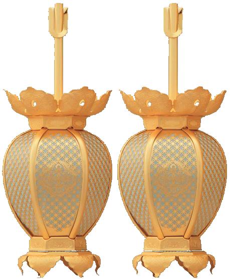 真鍮 七宝型 灯篭 消金メッキ 小 真宗東紋入 吊灯籠(吊り灯篭)