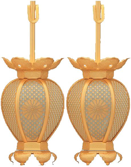 吊灯籠(吊り灯篭) 天台宗紋入 真鍮 七宝型 灯篭 消金メッキ 小