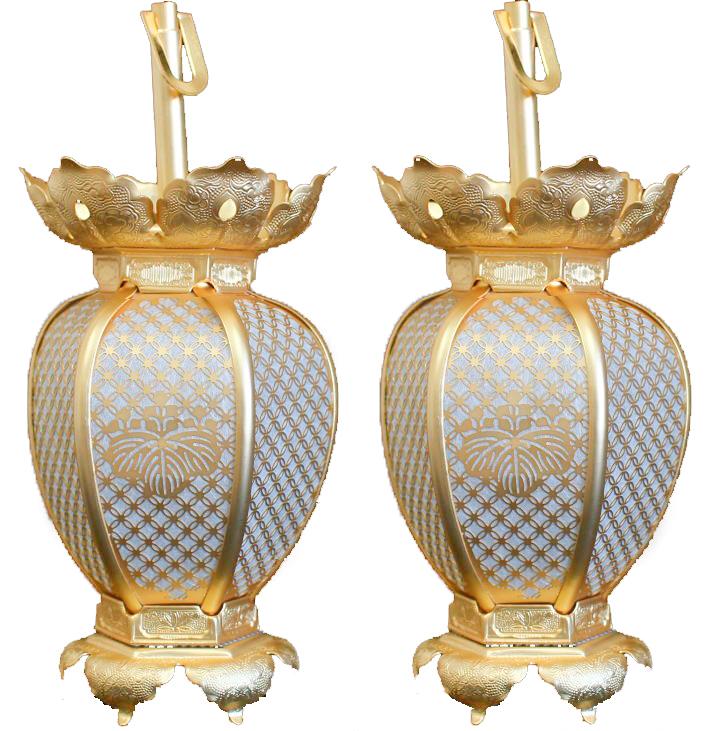 吊灯籠(吊り灯篭) 真言宗紋入 真鍮 七宝型灯篭 消金メッキ 小
