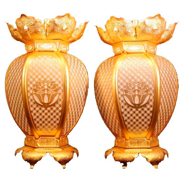 吊灯籠(吊り灯篭) 浄土宗紋入 真鍮 七宝型灯篭 消金メッキ 小