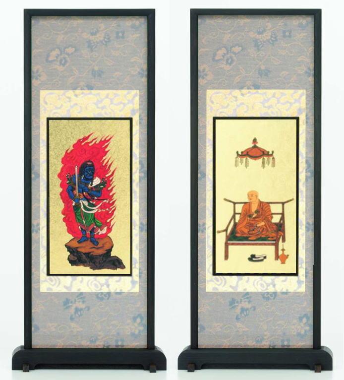 仏壇 仏具 新商品 スタンド掛軸 両脇 モダン掛軸 ミニ 黒檀 定価