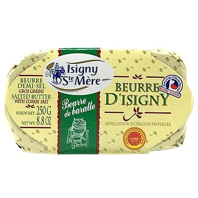伝統的なチャーニング製法で作り 15時間ゆっくり熟成させています 塩はゲランド産の物を使用 なめらかな舌ざわり 優しいミルクの風味が特徴です フランス ISIGNY トラスト 人気海外一番 有塩 250g チャーニング発酵バターAOP イズニー
