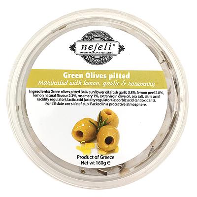 日本 肉厚で香り豊かなギリシャ北東のハルキディキ種のオリーブを手摘みで収穫しました レモン ローズマリーでさっぱりと香り豊かな組み合わせです ギリシャ グリーンオリーブ 宅配便送料無料 160g ネフェリ ローズマリー