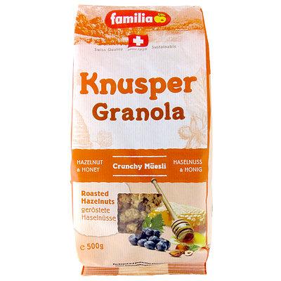 歯応えのあるグラノーラタイプ 激安☆超特価 シリアル ナッツ 穀物がミックスされた 安売り ファミリア 500g 朝食にピッタリのシリアルです クナスパーグラノーラ