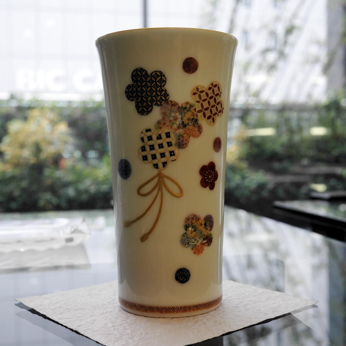 華薩摩 空女 小野多美枝 梅紋ビアカップ/タンブラー 京薩摩 京焼 清水焼