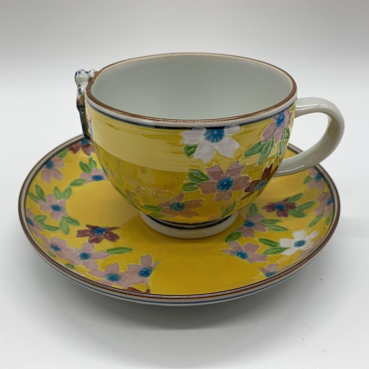 武内裕(秀峰窯) 一閑人黄交趾桜コーヒー碗(コーヒーカップ&ソーサー) 京焼 清水焼
