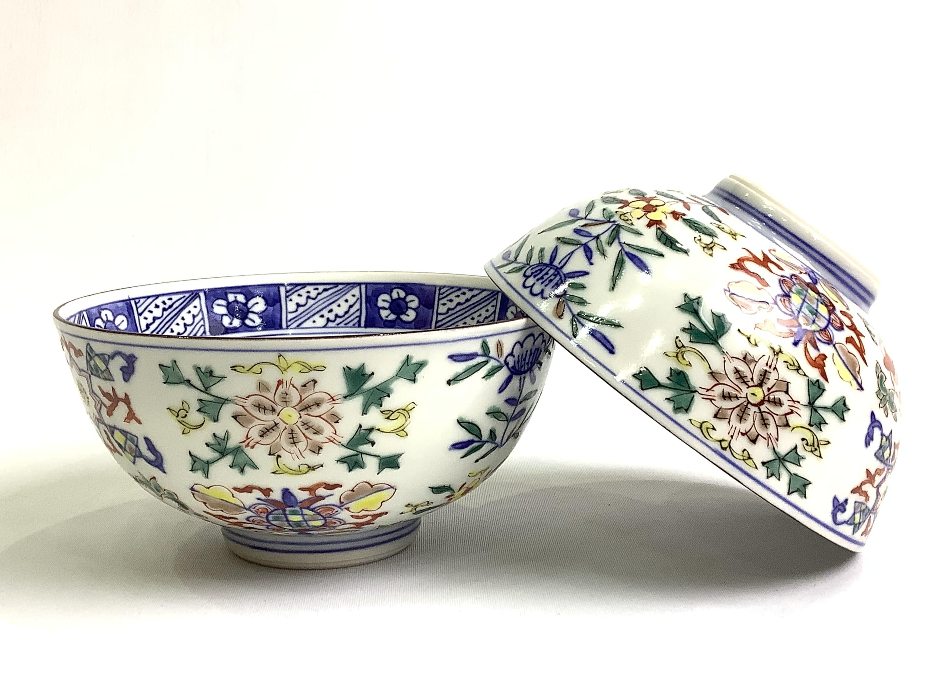 高級 作家物 日本製 伝統工芸品 京焼・清水焼 矢野正三(碧黄石窯) 花尽し組飯碗