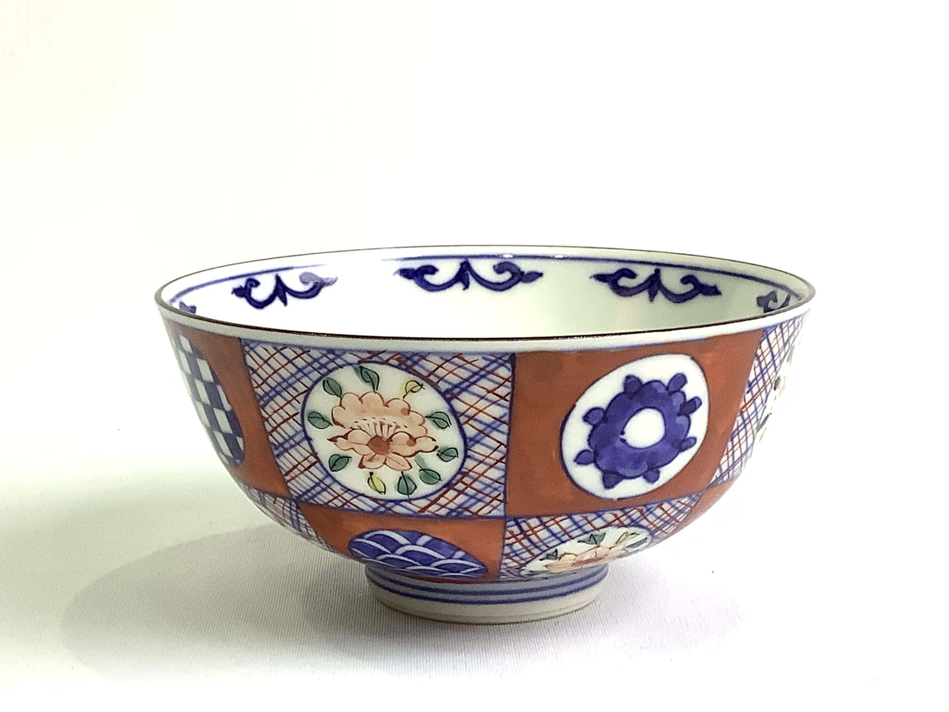 高級 作家物 日本製 伝統工芸品 京焼・清水焼 矢野正三(碧黄石窯) 色入六割丸紋飯碗