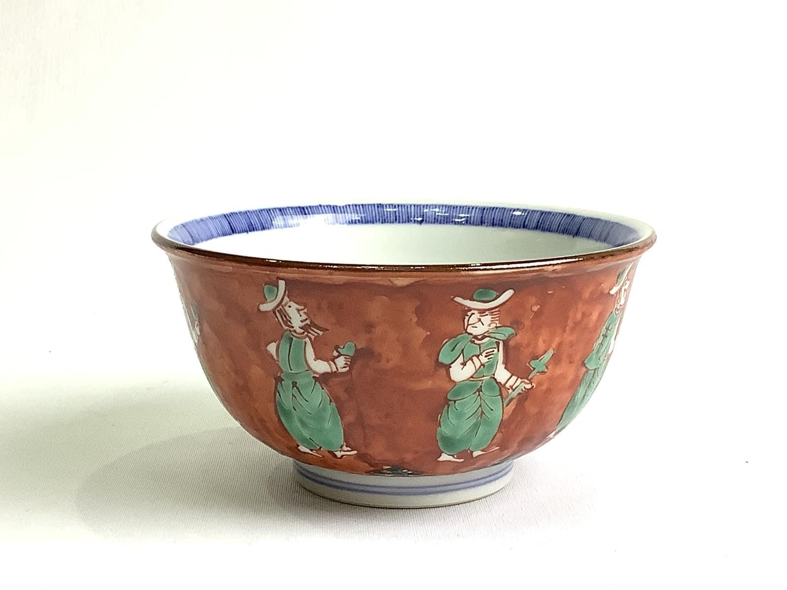 高級 作家物 日本製 伝統工芸品 京焼・清水焼 加藤雲泉(雲泉窯) 赤地蘭人飯碗