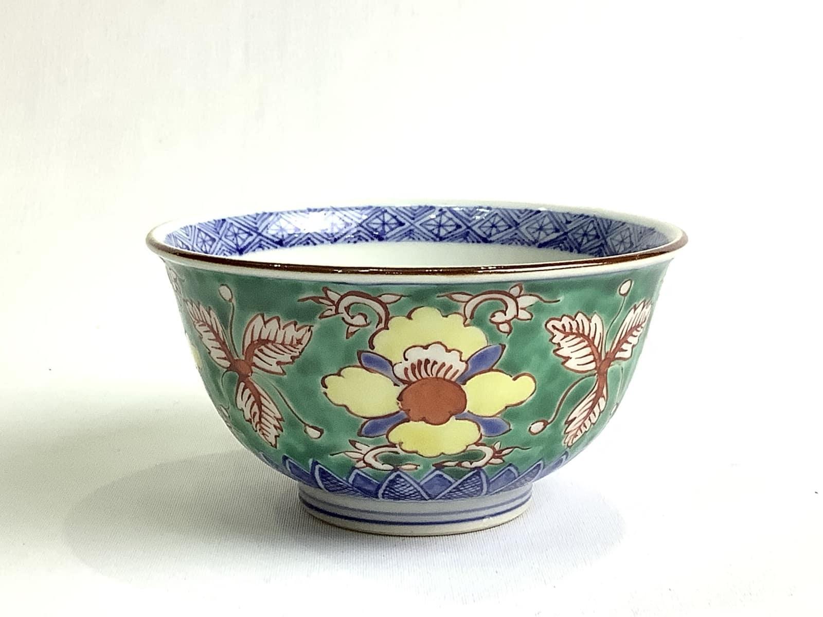 高級 作家物 日本製 伝統工芸品 京焼・清水焼 加藤雲泉(雲泉窯) 青彩花文飯碗