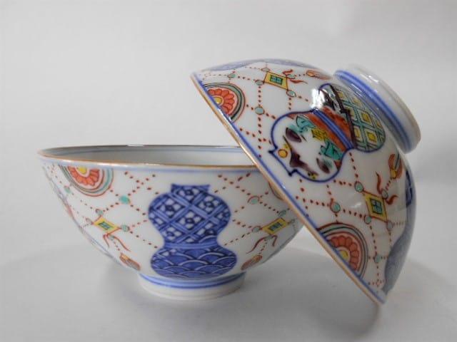 高級 作家物 日本製 伝統工芸品 京焼・清水焼 高野昭阿弥 色絵六瓢 組飯碗