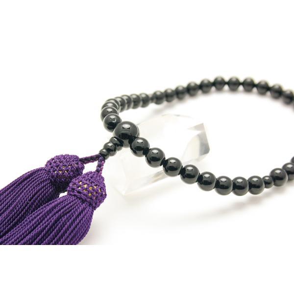 国産品 女性用御念珠 ブラックオニキス 正絹房 念珠袋付き