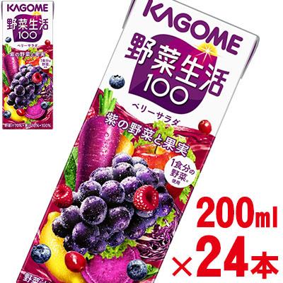 カゴメ 野菜生活100 ベリーサラダ 200ml×24本 2020モデル 野菜ジュース 紫の野菜 kagome 新入荷 流行 jo_62 旧:エナジールーツ