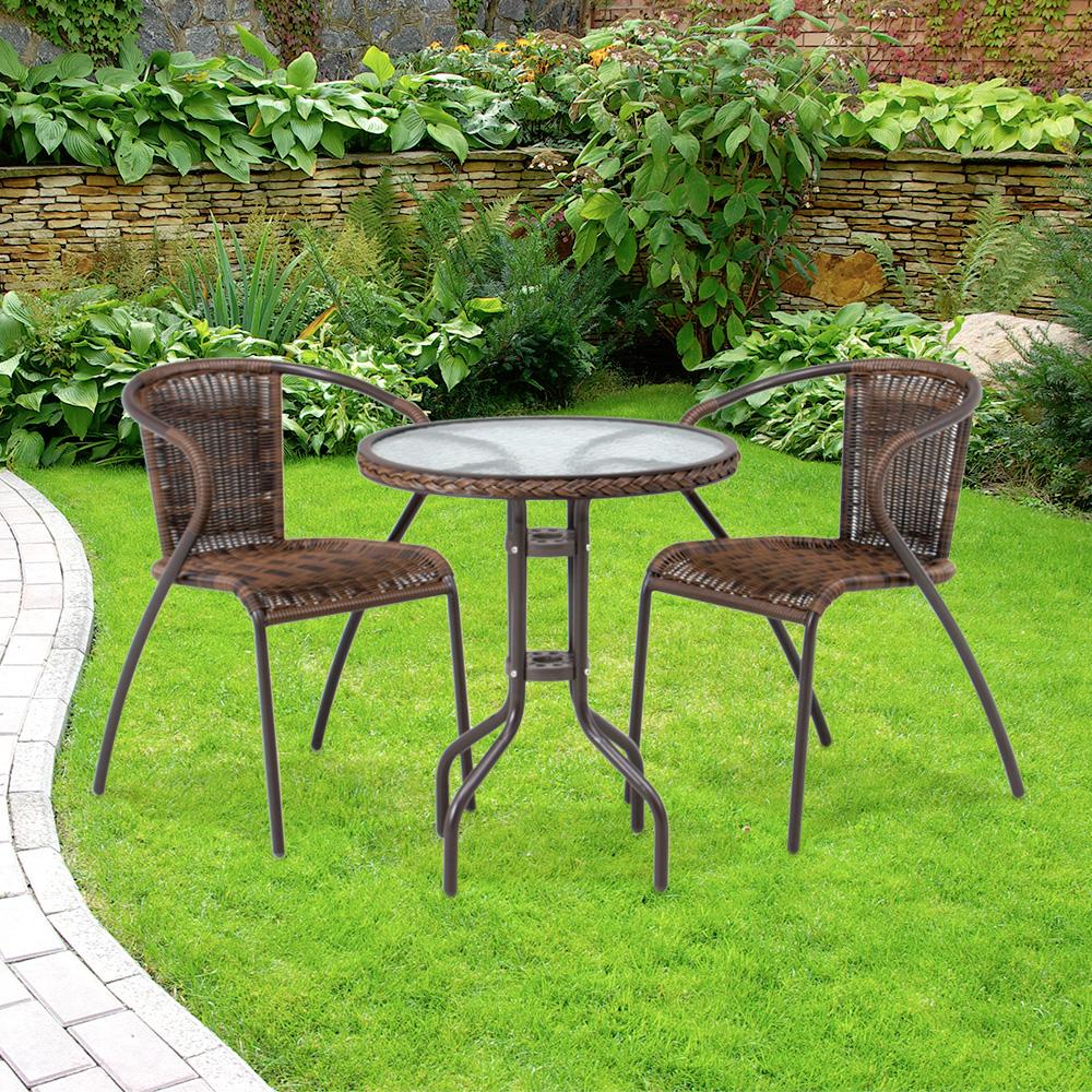 ラタン調 ガラステーブル&チェア 3点セット|チェア2脚 ガラステーブル ガーデンテーブル 屋外 ベランダ ガーデン ガーデニング 庭 テラス テーブル
