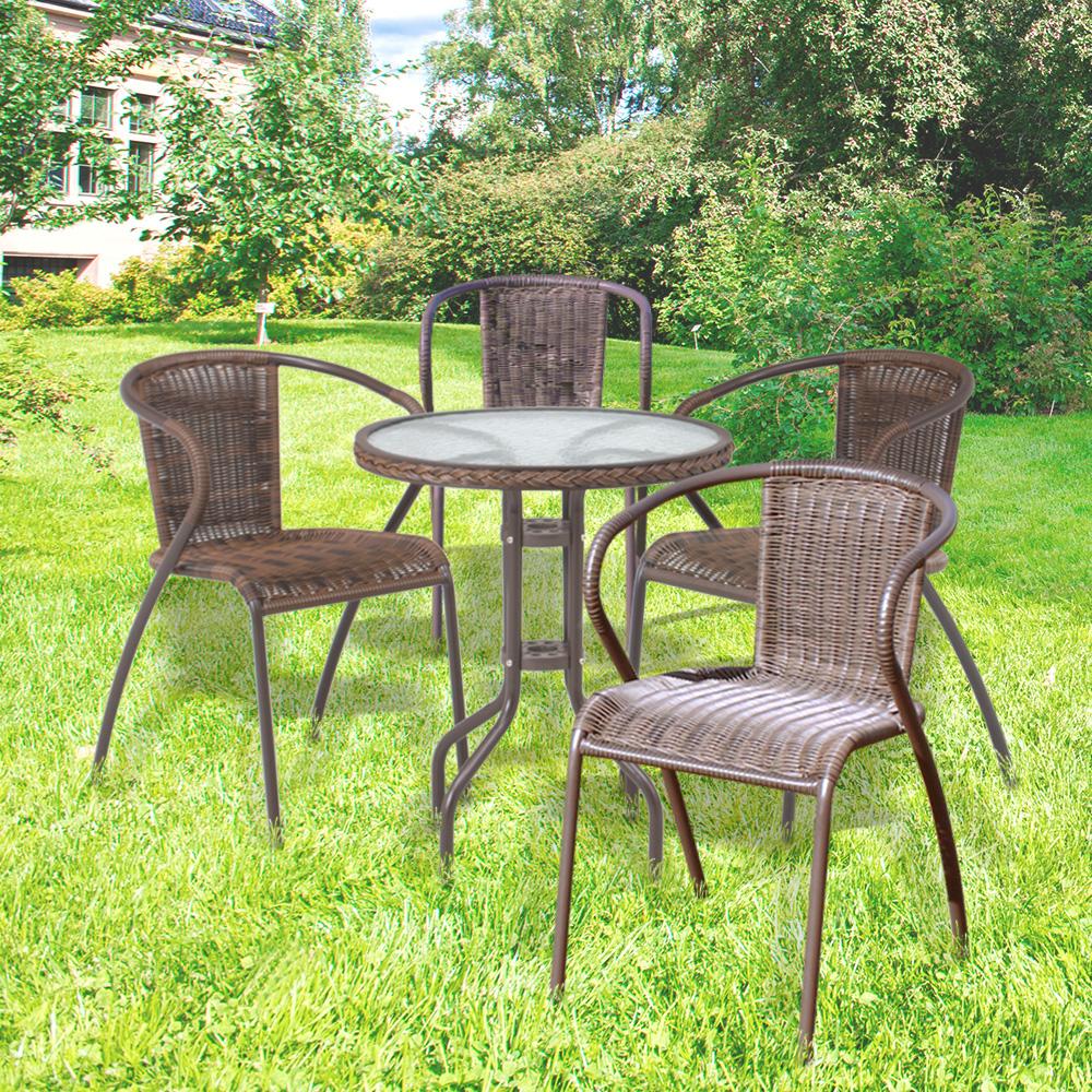 ラタン調 ガラステーブル&スタッキングチェア 5点セット スタッキングチェア4脚 ガラステーブル おしゃれ 屋外 ガーデニング ベランダ 庭 テラス テーブル
