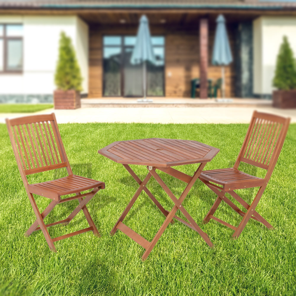 代金引換不可 木製 フォールディングテーブル&チェア 3点セット|天然木 アカシア材 木製チェア 木製テーブル 八角 屋外 折りたたみ ベランダ ガーデン ガーデニング 庭