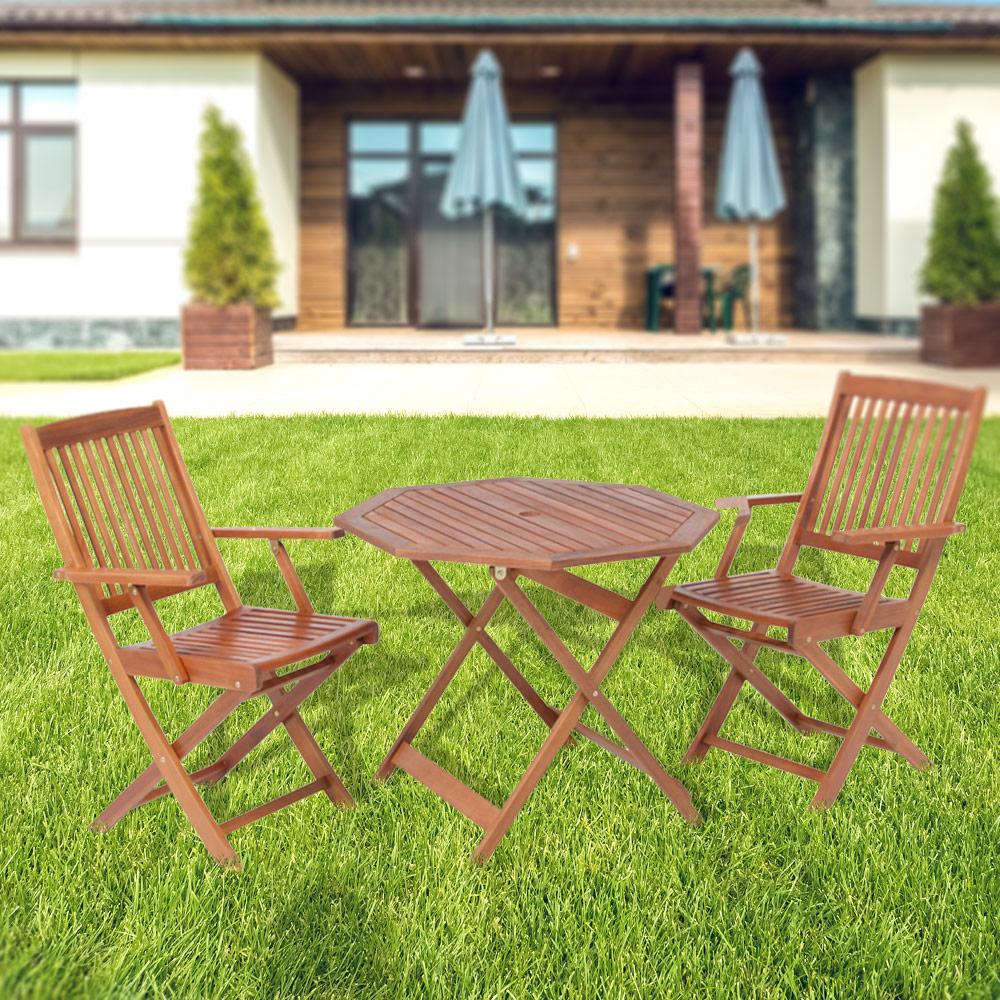 代金引換不可 木製 フォールディングテーブル&チェア(肘付き) 3点セット|天然木 八角 木製チェア 木製テーブル 屋外 折り畳みテーブル ベランダ ガーデン ガーデニング 庭